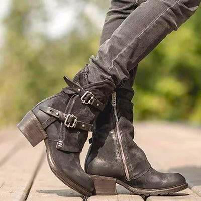 Winter Plain Square Heel Buckle Low Boots
