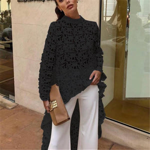 Fashion Elegant Casual Patchwork Flounced Dip Hem Top Crochet Irregular Hollow Out See Through Blouse