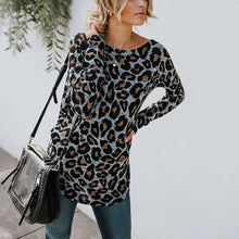 Load image into Gallery viewer, Sexy Halter Leopard Print Long-Sleeved T-Shirt