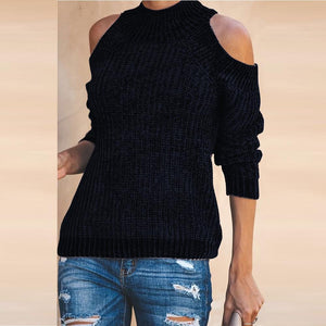 Cold Sleeve Crew Neck Sweater Slim Knitwear