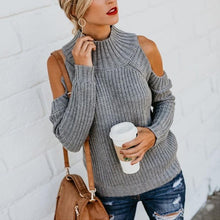 Load image into Gallery viewer, Turtle Neck Long Sleeve Hollow Out Fashion Knitting Sweaters