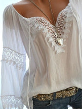 Load image into Gallery viewer, Tie Collar Decorative Lace Hollow Out Plain Long Sleeve Blouses