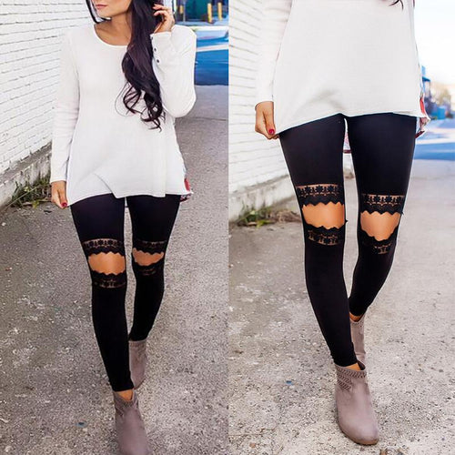 High Waist Hollow Out Lace Patchwork Leggings Pants