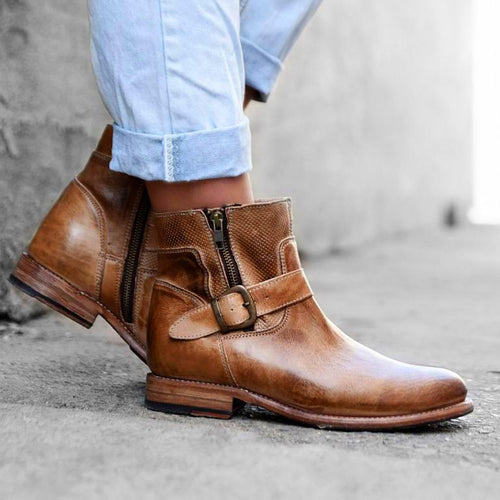 Fashion Multi-Color Low Heel Martin Boots