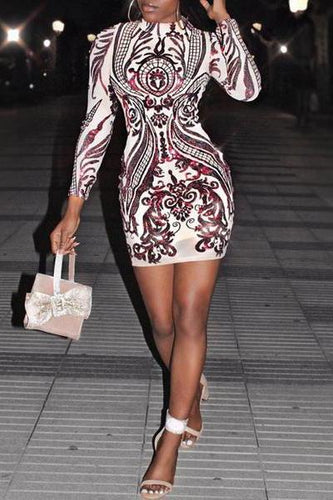 Sexy Fashion High Collar Printed Sequins Slim Bodycon Dress