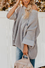 Load image into Gallery viewer, One Shoulder  Loose Fitting  Plain Sweaters