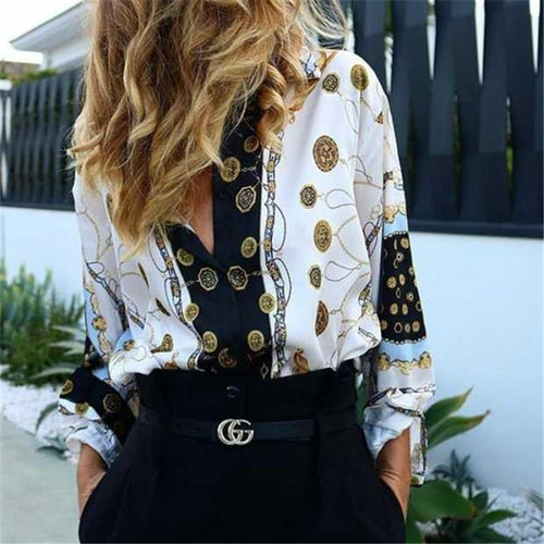 Autumn And Winter   Fashion Printing Long-Sleeved Shirt