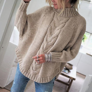 Little High-Necked Bat Sleeve Sweater