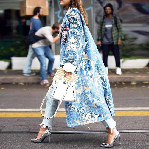 Fashion Floral Pattern Printed Long Sleeve Outerwear Casual Loose Coat Cardigan Jacket