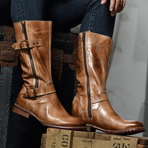 Fashion Low Heel Leather Long Boots