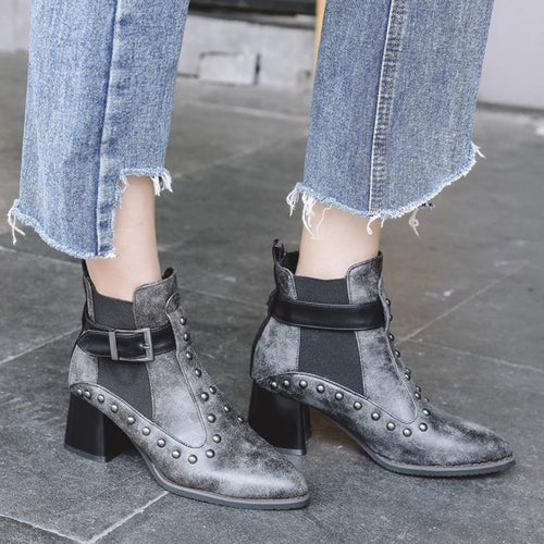 PU Leather Buckle Rivet Ankle Boots
