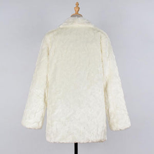 Lapel Loose Long Sleeve Faux Fur Fashion Coats