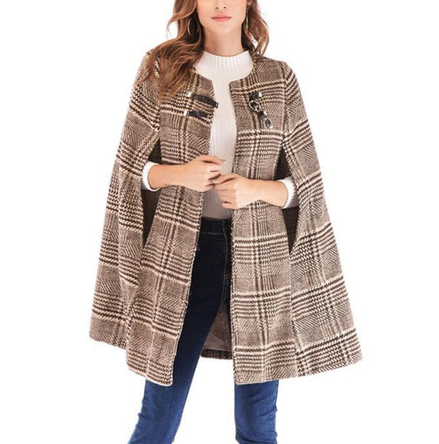 Casual Plaid Tweed Jacket With Leather Buckles Coat