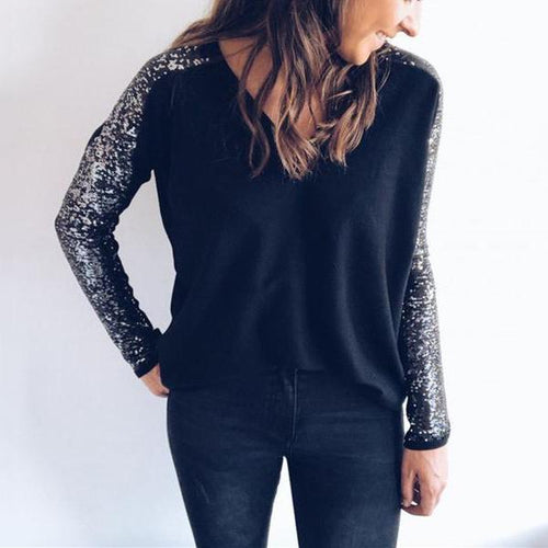 Fashionable V Neck Beaded Sequins With Long Sleeve T Shirt