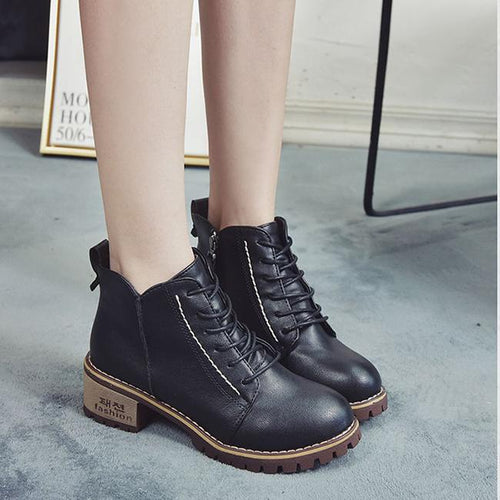 British Style Side Zipper Leather Design Short Martin Boots