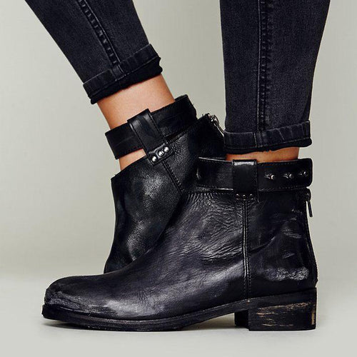 Stylish Fall Leather With Zipper Boots