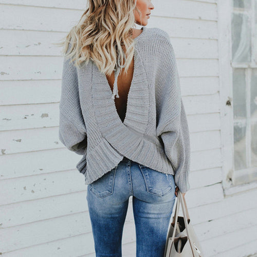 Casual Round Collar Plain Loose Backless Strappy Sweater