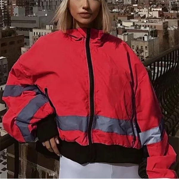 Fashion Street Style Lapel Color Blocking Reflective Short Coat