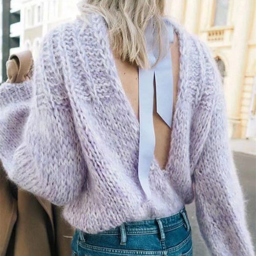 Sweet Plain Hollow Loose Bow Backless  Mohair Sweater