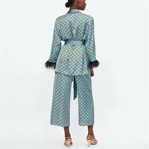 Fashion Printed V Collar Feather Split Joint Coat Pants Suit