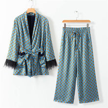 Load image into Gallery viewer, Fashion Printed V Collar Feather Split Joint Coat Pants Suit