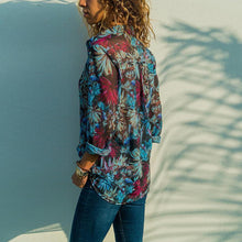 Load image into Gallery viewer, Floral Printed Lapel Long Sleeve Casual Blouses