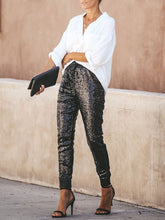 Load image into Gallery viewer, Casual Elastic PU Binding Feet Sequins Long Pants