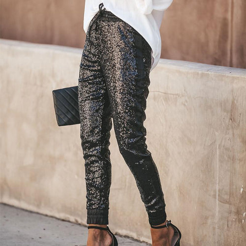 Casual Elastic PU Binding Feet Sequins Long Pants
