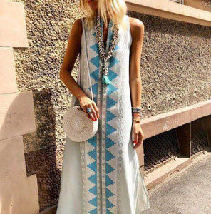 Casual Sexy Sleeveless   National Style Printing Maxi Dresses