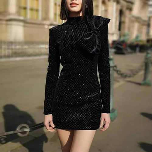 Bow-Knot Turtleneck Sequin Long Sleeve Evening Dress