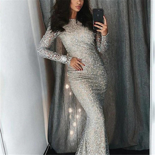 Fashion Sexy Sequins   Evening Party Maxi Bodycon Dresses