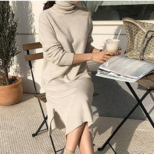 Load image into Gallery viewer, Fashion High Neck Thick Sweater Skirt With Belt