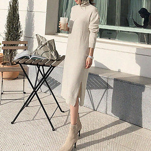 Fashion High Neck Thick Sweater Skirt With Belt
