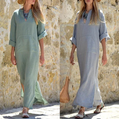 Casual V Collar Plain Loosen Shift Dress