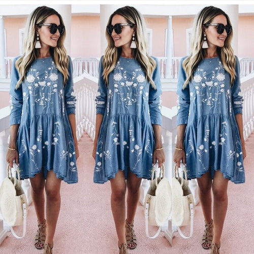 Fashion Round Collar Floral Printed Loose Shift Dress