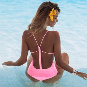 Sexy Plain Flouncing Backless Bikini Swimwear