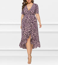 Load image into Gallery viewer, V-Neck Ruffled Irregular Leopard Dress
