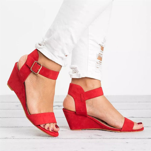 Casual Open Toed Plain Wedge Heel Sandal