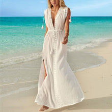 Load image into Gallery viewer, Sexy Deep V Collar Plain Loose Defined Waist Vacation Dress