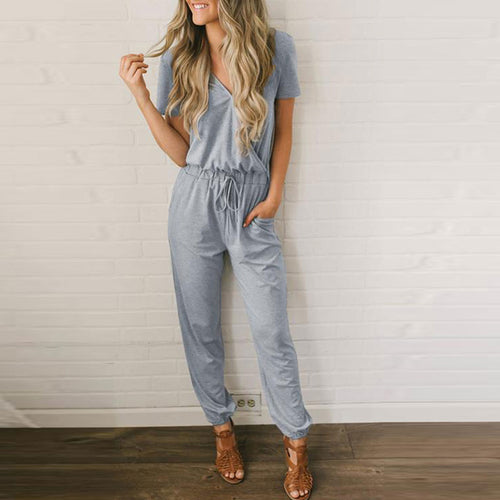 Fashion V Collar Loose Plain Defined Waist Jumpsuit