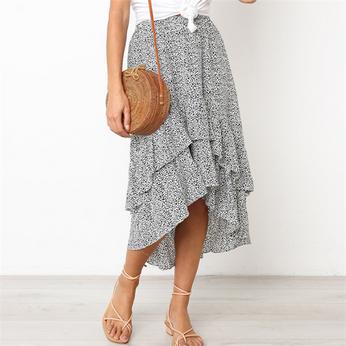 Fashion Loose Floral Printed Asymmetrical Skirt