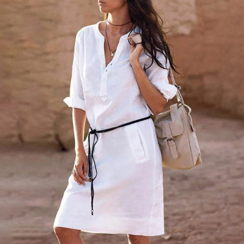 Casual Round Collar Plain Loose Defined Waist Shift Dress