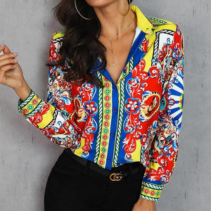 Fashion Turndown Collar Printed Colour Shirt