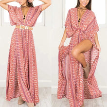 Load image into Gallery viewer, Floral Printed Short Sleeve High Split Vacation Maxi Dress