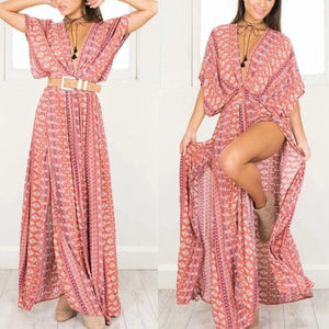 Floral Printed Short Sleeve High Split Vacation Maxi Dress