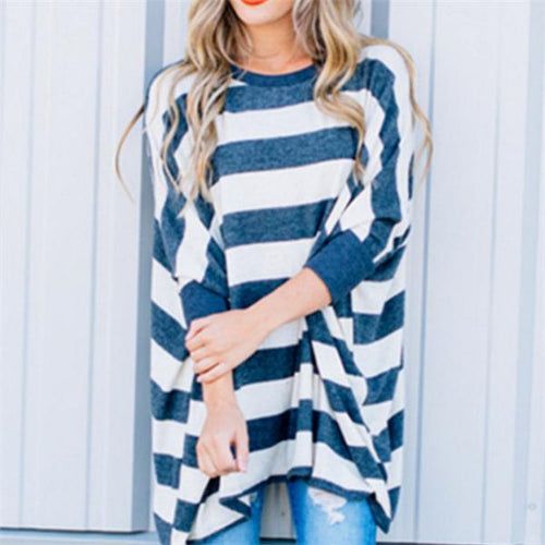 Casual Loose Striped Bat Wing Sleeve Blouse