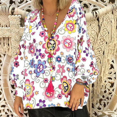 Casual V Collar Floral Printed Loose Blouse
