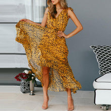 Load image into Gallery viewer, Sexy V Collar Leopard Printed Defined Waist Vacation Dress
