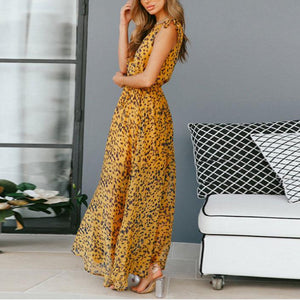 Sexy V Collar Leopard Printed Defined Waist Vacation Dress