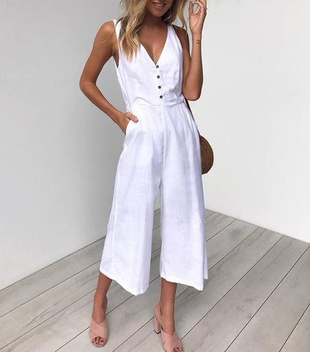 Sexy V-Neck Sleeveless Open Backless Jumpsuit